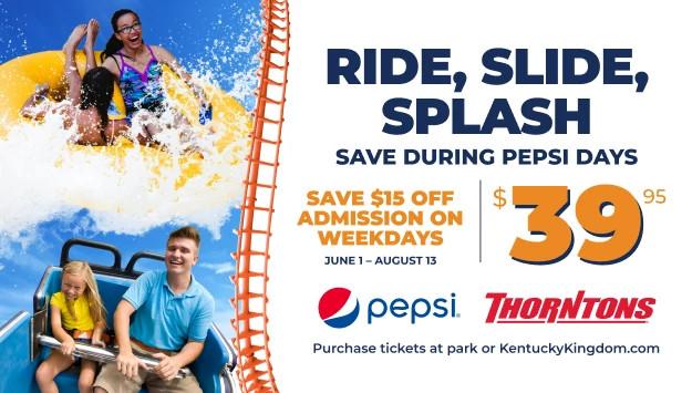 Ride, Slide, Splash during Pepsi Days