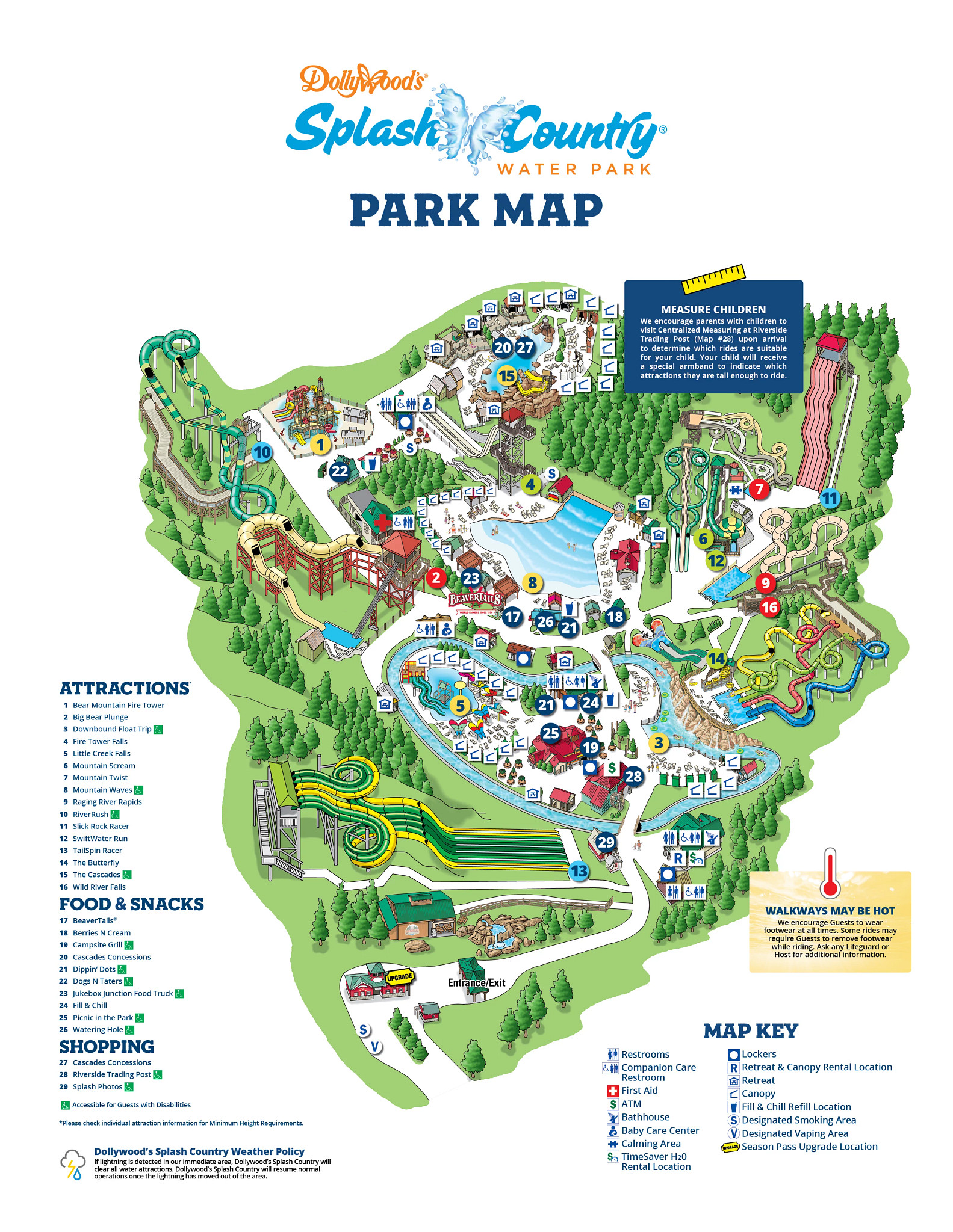 2021 Dollywood's Splash Country Park Map